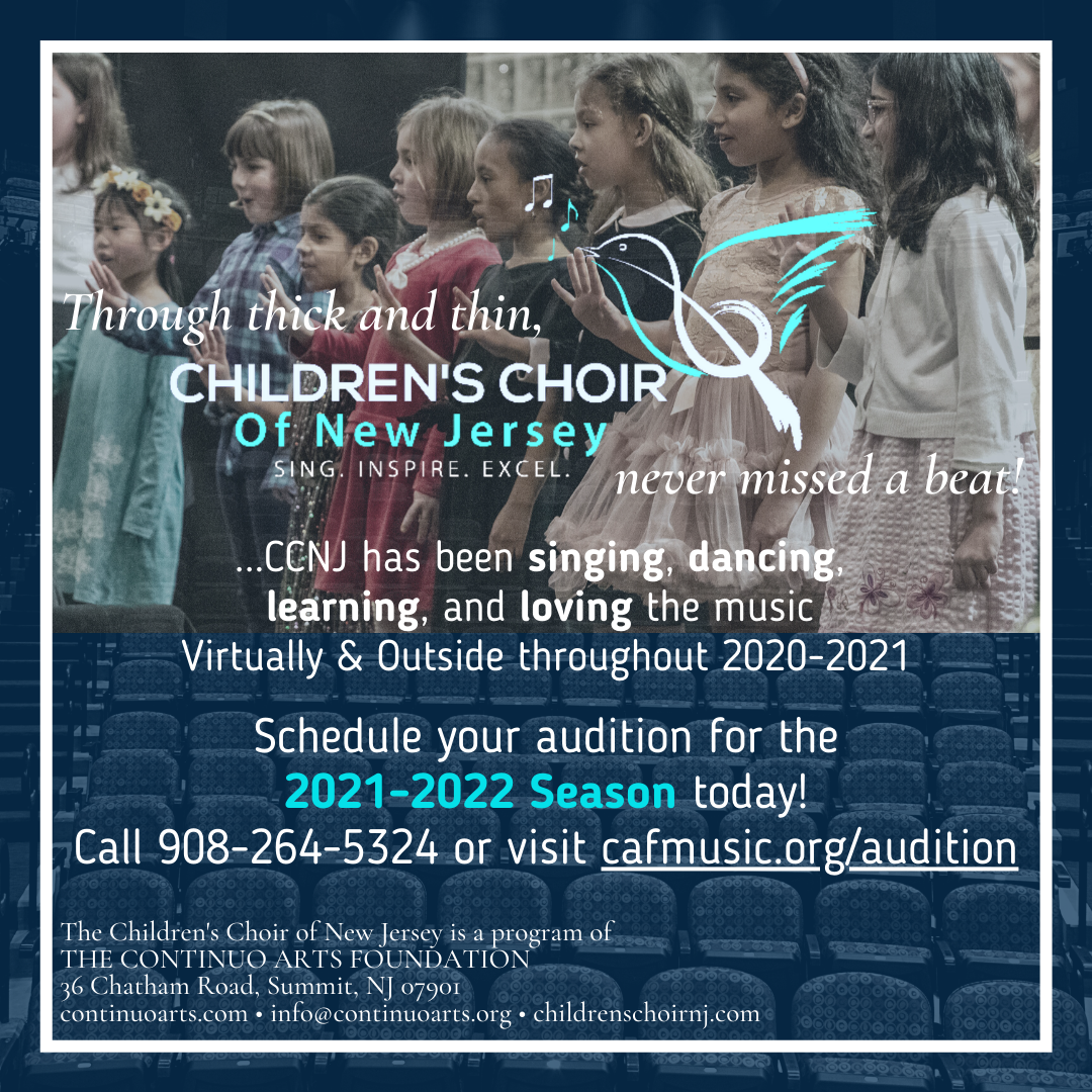 Audition For the Children's Choir of New Jersey's 2021-2022 Season Today!